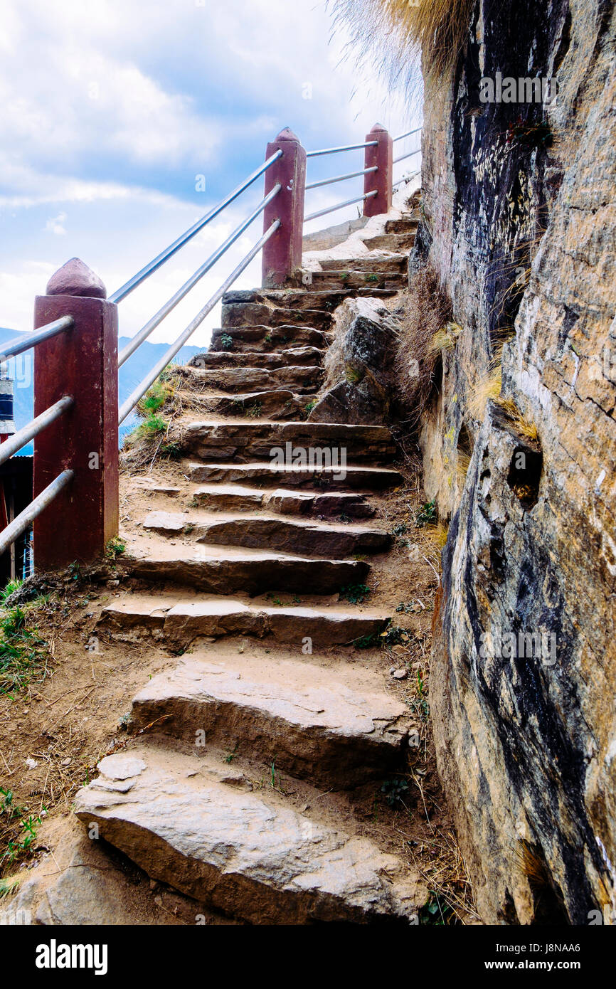 The steps to the beautiful Paro Taktsang, also known as Tiger Nest is a sacred monasteries and pilgrimage sites - Stock Image