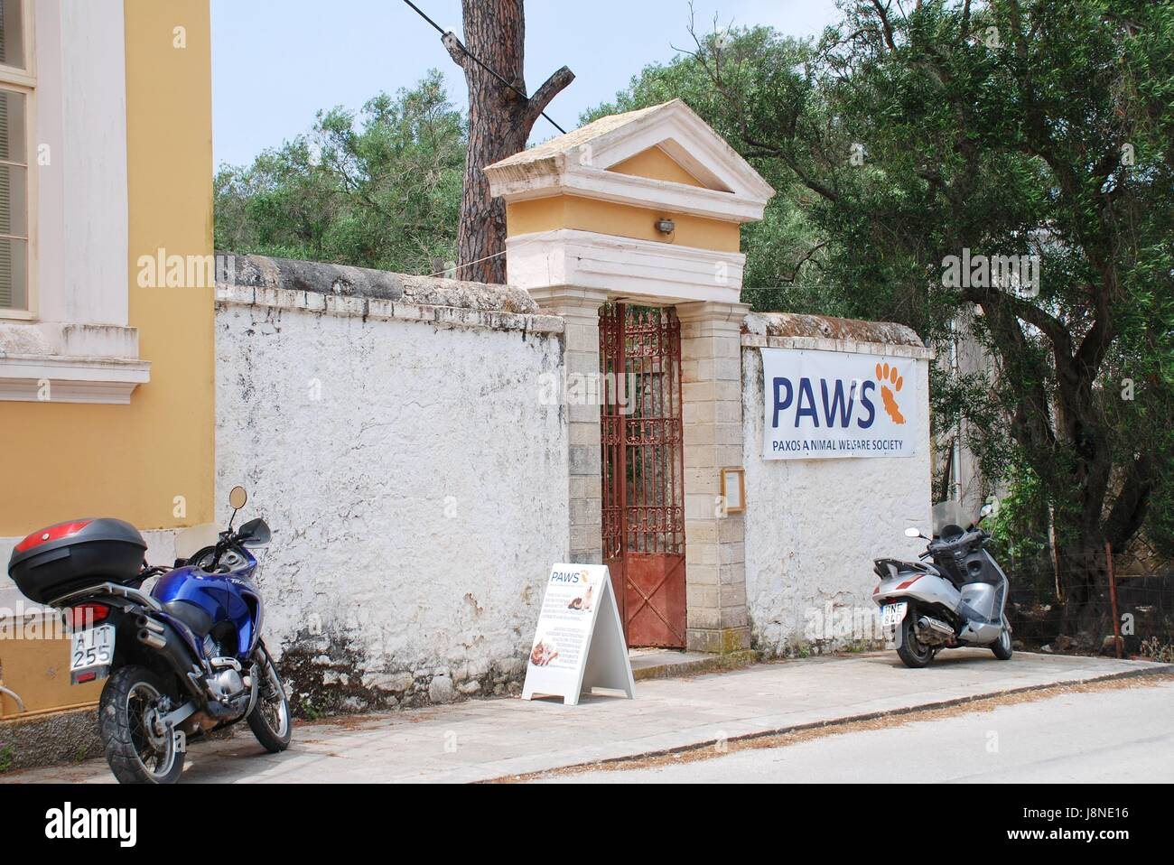 Exterior of the PAWS (Paxos Animal Welfare Society) clinic at Magazia on the Greek island of Paxos on June 18, 2014. - Stock Image