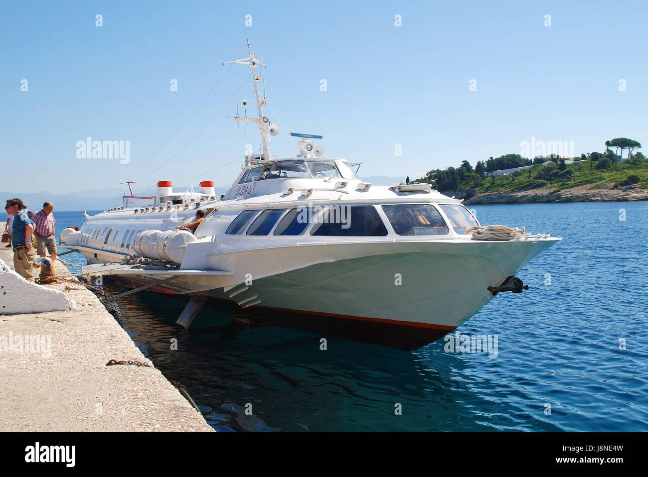 Joy Cruises hydrofoil Ilida II moored at Gaios harbour on the Greek island of Paxos on June 23, 2014. The 35mtr - Stock Image