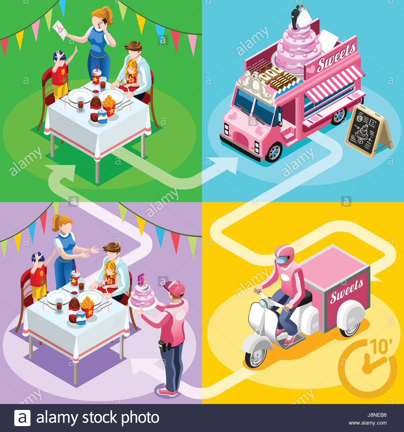 Gourmet Take Away Food Truck And White Car Or Van For Birthday Cake Fast Home Delivery Vector Infographic Isometric People Man Processing On