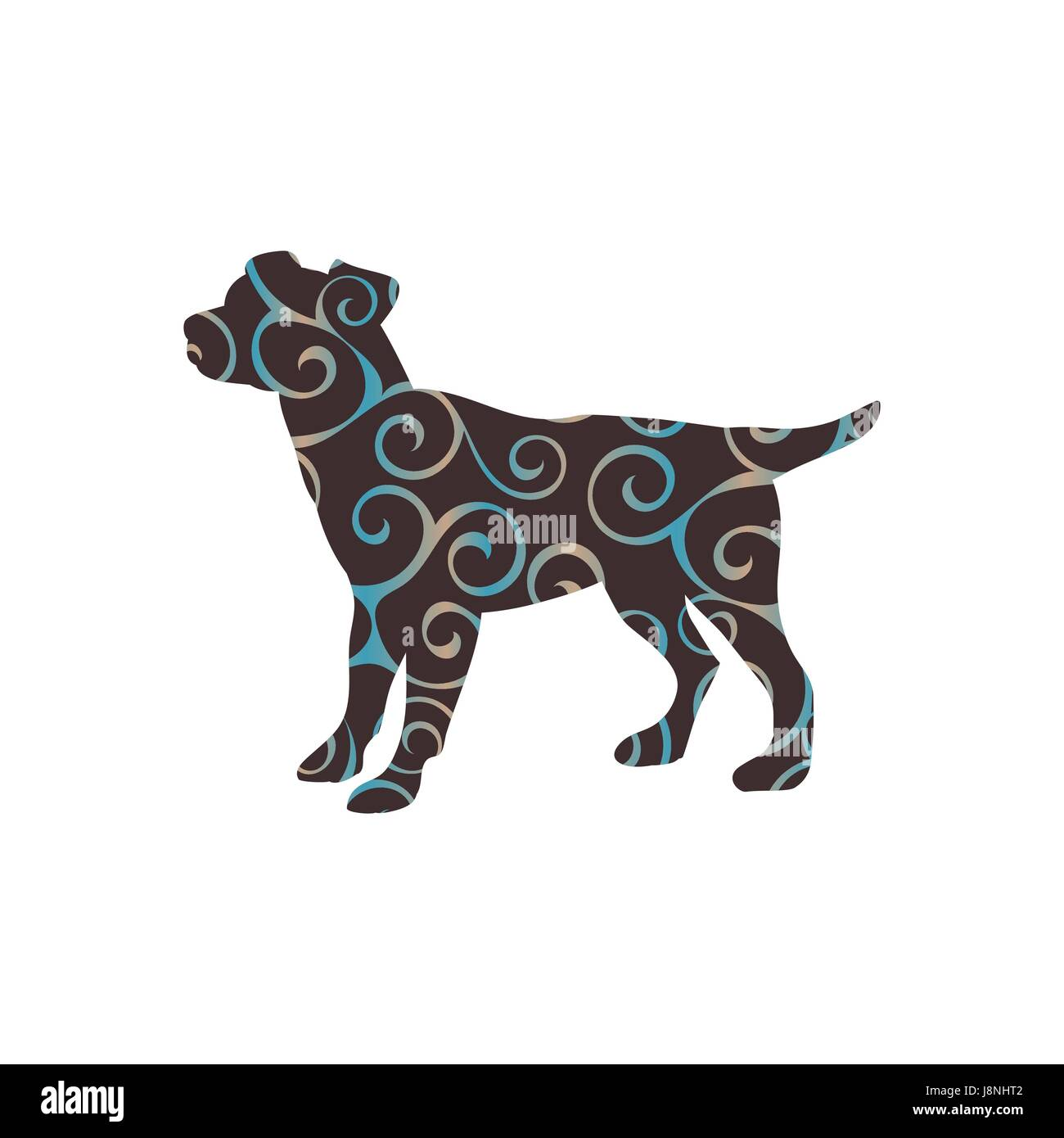 Dog pup pet color silhouette animal - Stock Image