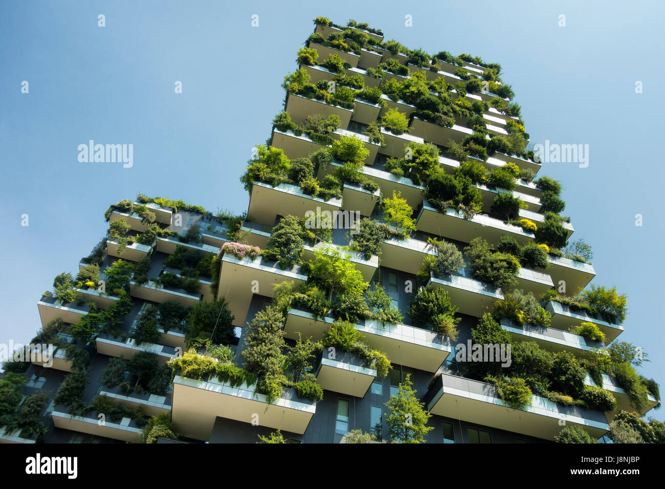 sustainable green building, Bosco verticale in Milan - Stock Image