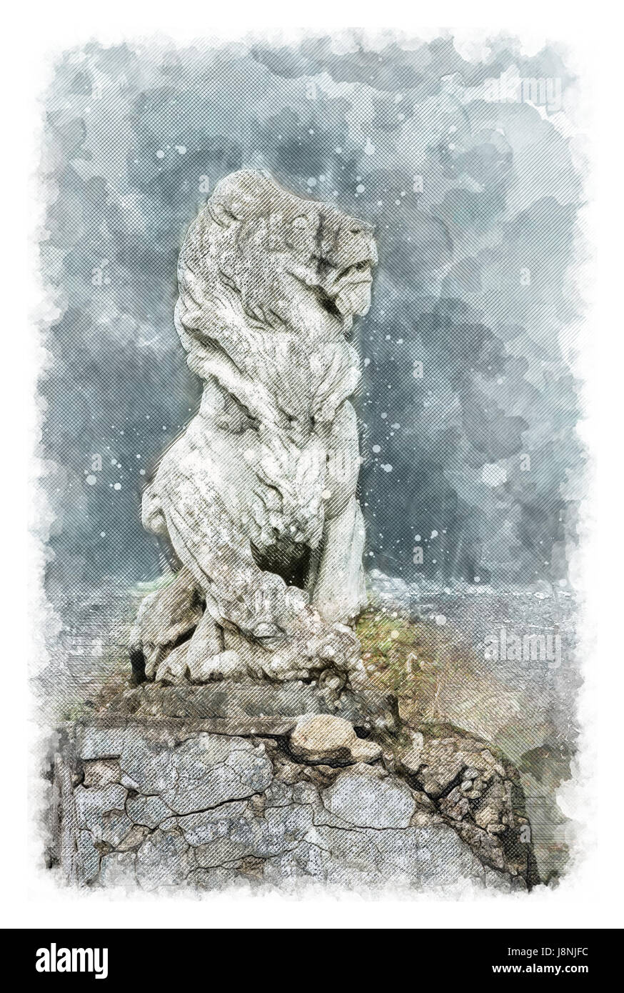 Architectural sketch Sculpture of a lion in an old noble manor - Stock Image