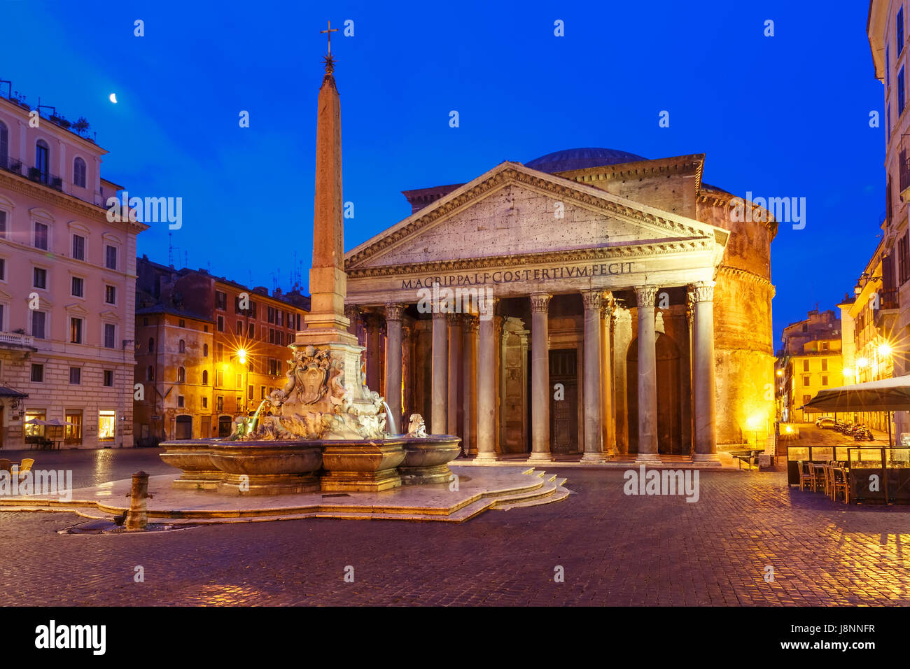 The Pantheon at night, Rome, Italy - Stock Image