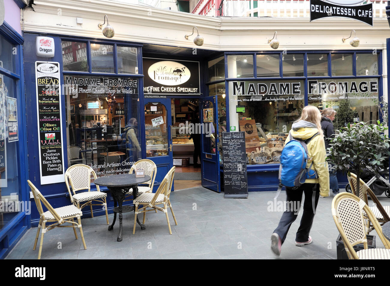 Madame Fromage Specialist Cheese Shop in Castle Arcade,  Cardiff Wales UK  KATHY DEWITT - Stock Image