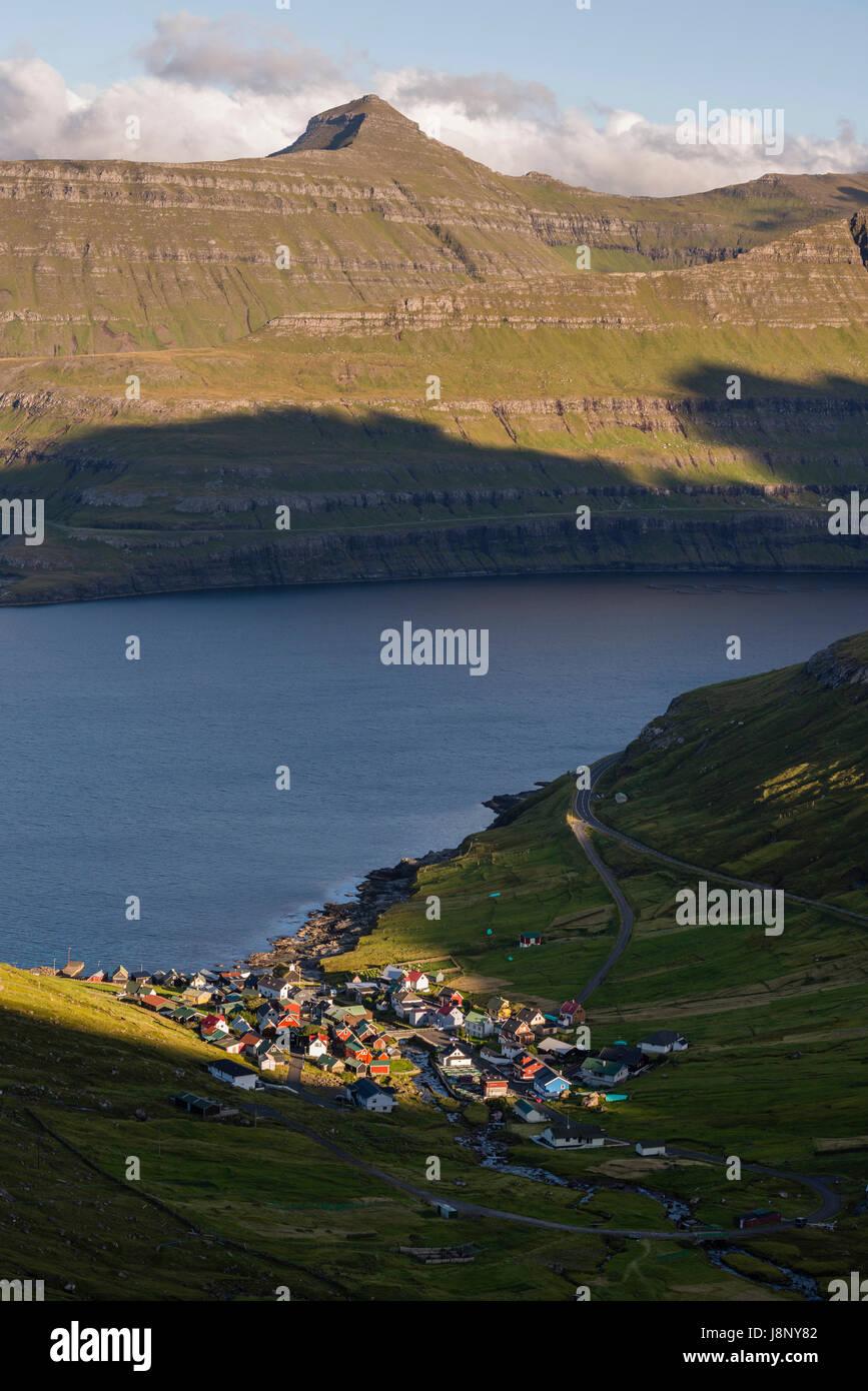 Village by lake Stock Photo