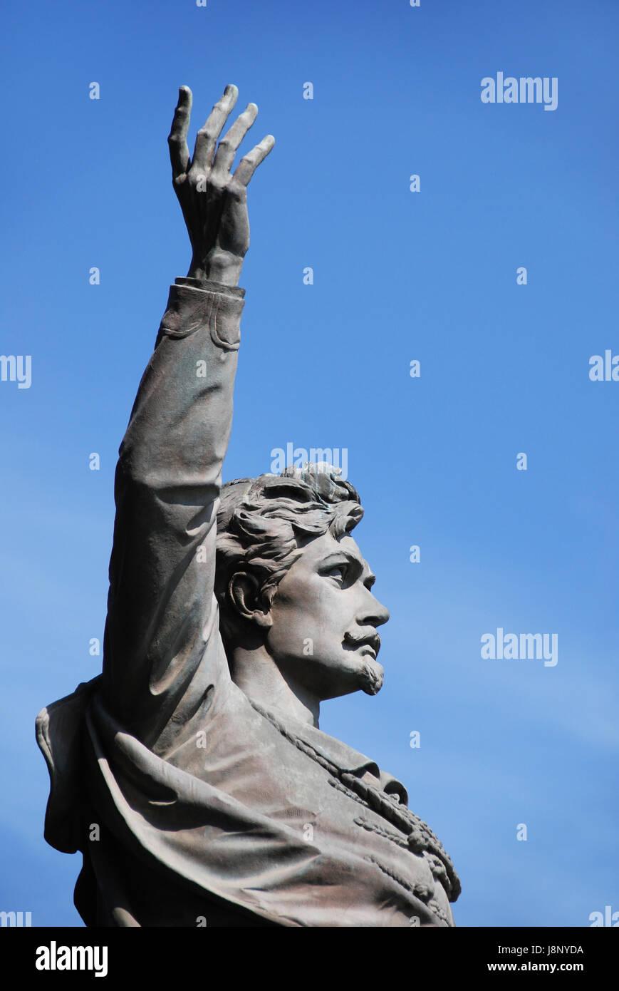 monument, budapest, poet, revolution, revolutionary, blue, hand, finger, Stock Photo
