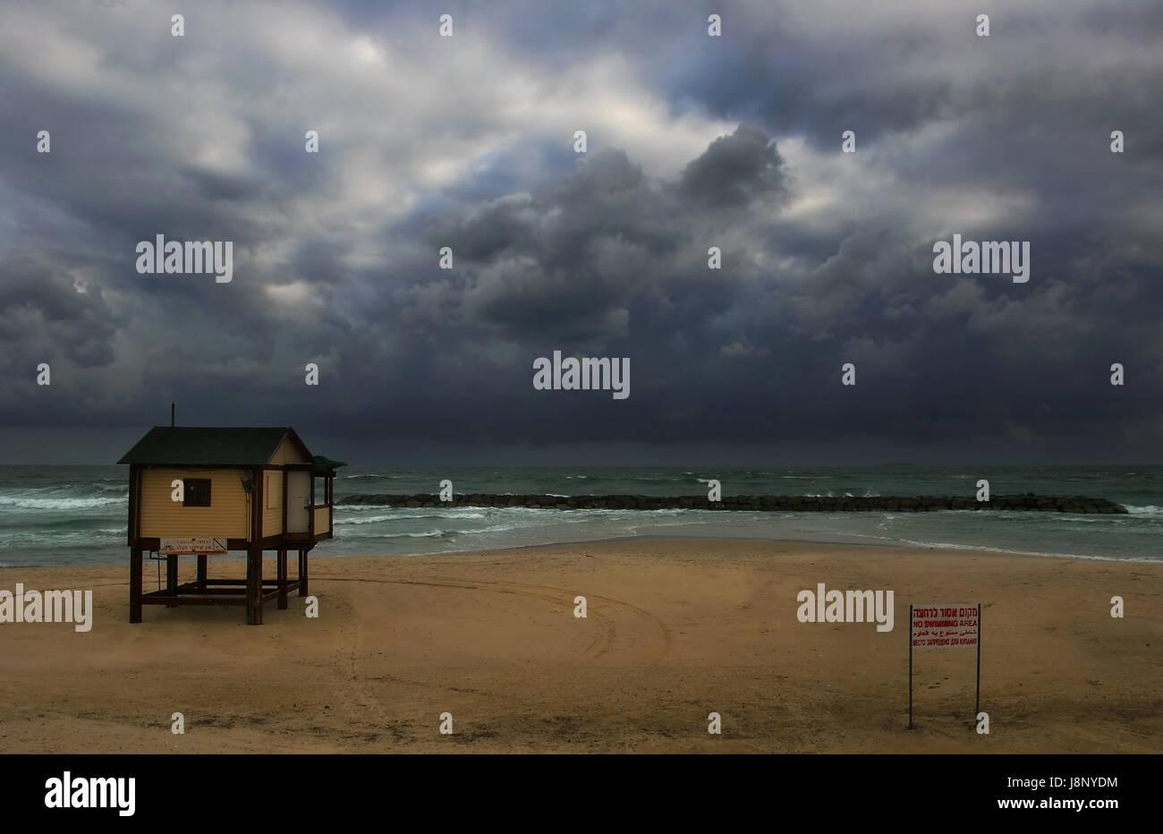 beach, seaside, the beach, seashore, israel, weather, landscape, scenery, - Stock Image