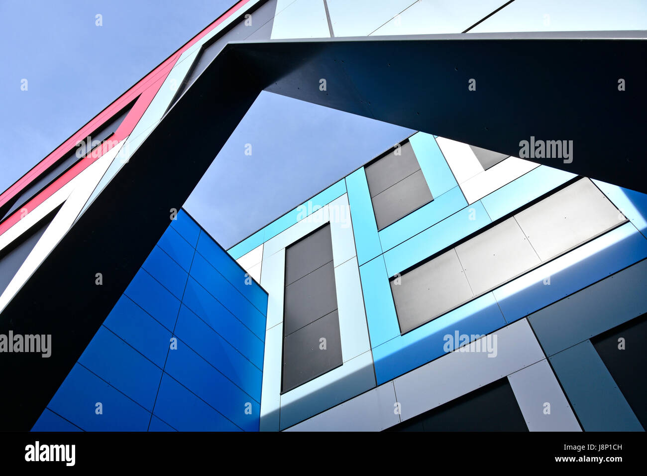 Modern architecture building & structure details form abstract pattern shapes colour triangles rectangles and - Stock Image