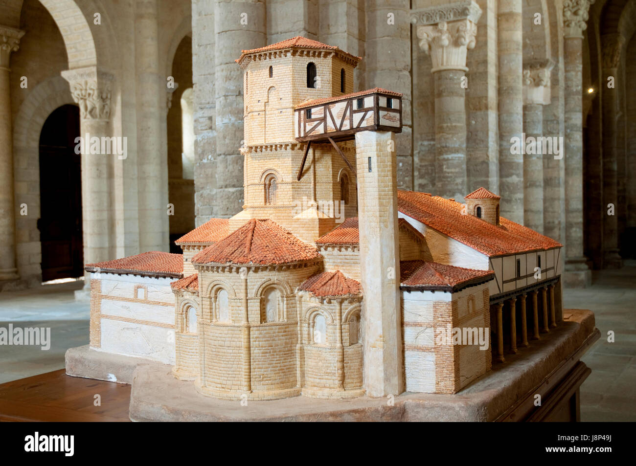 Mockup of the church. San martin church, Fromista, Palencia province, Castilla Leon, Spain. - Stock Image