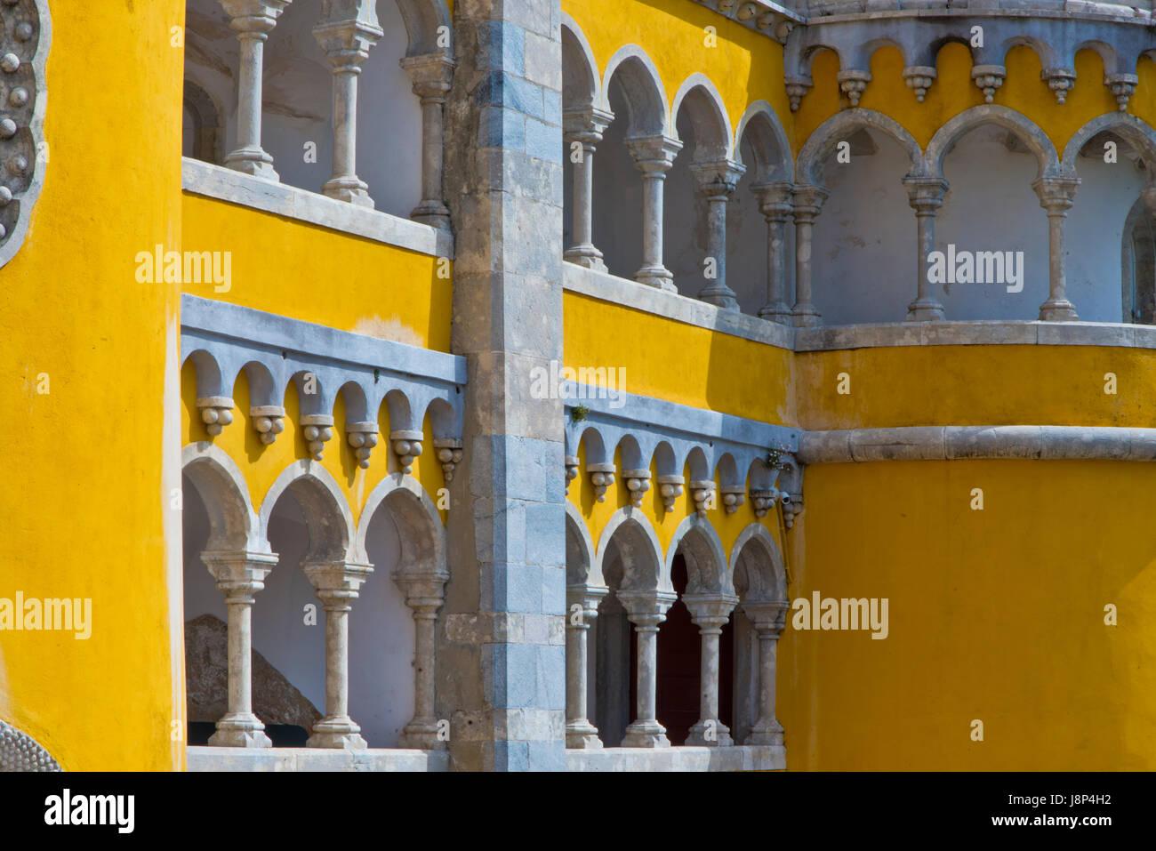 Second floor walkway at Palacio de Pena, Portugal - Stock Image