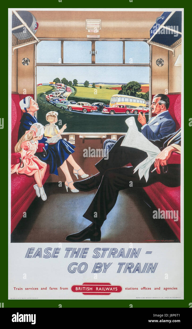 Vintage retro 1950's British Railways poster showing calm relaxed family train passengers with view through - Stock Image