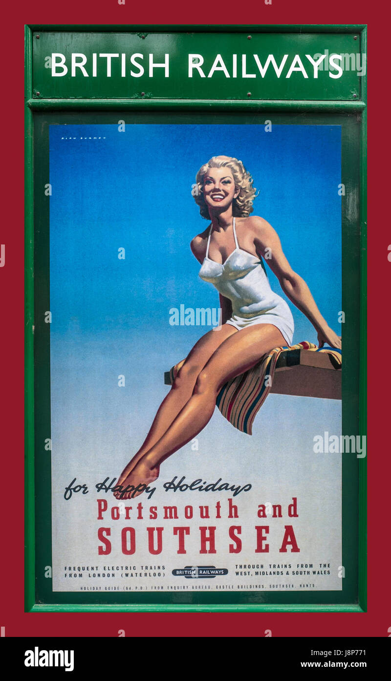Vintage retro 1950's British Railways poster with girl in swimsuit promoting 'happy holidays' in Portsmouth - Stock Image