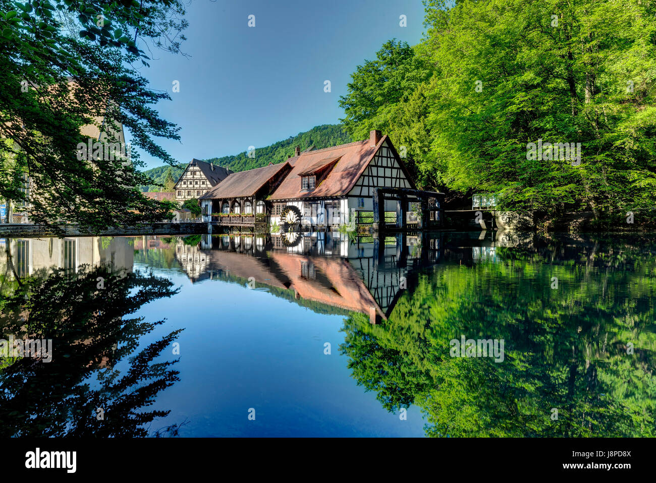 Fountain of the river Blau, Blautopf, Blaubeuren, Swabian Alb. - Stock Image