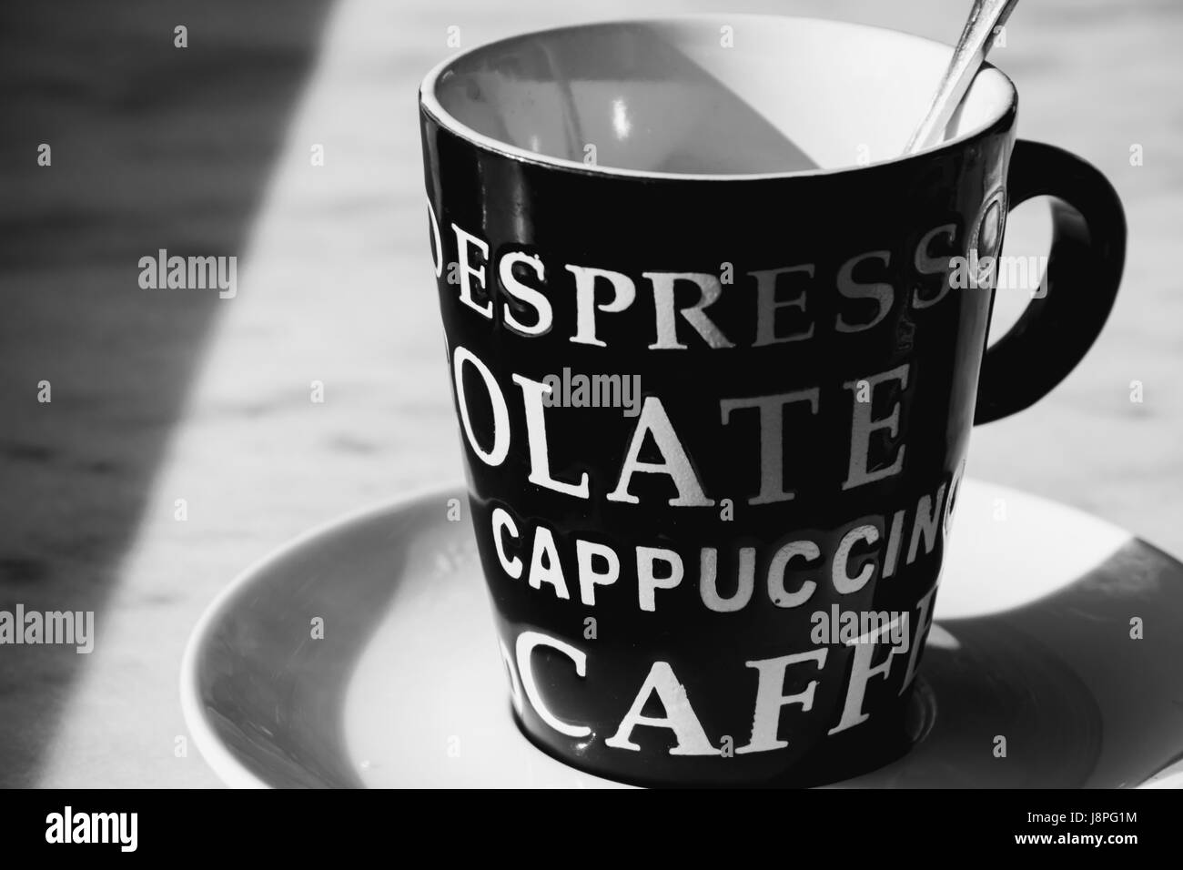 Black and white coffee time - Stock Image