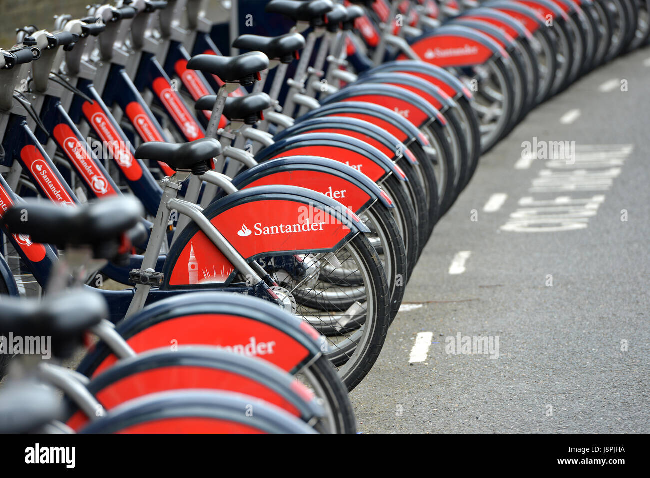 Santander cycles, or Boros Bikes, in Oval, London - Stock Image