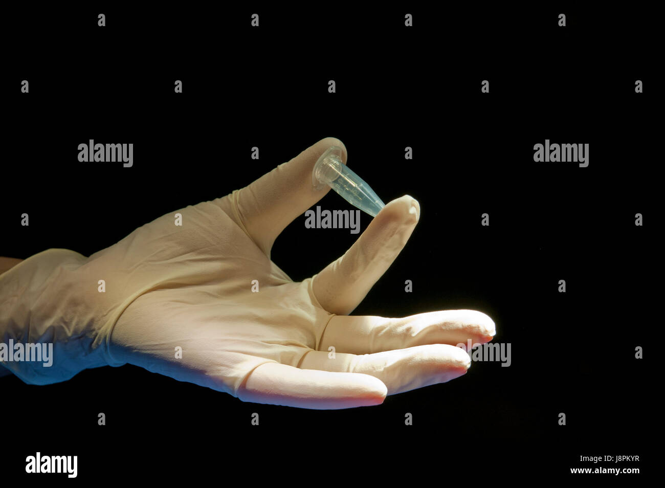 hand, glove, tube, covered, in, possession, holding, white, pipe, doctor, - Stock Image