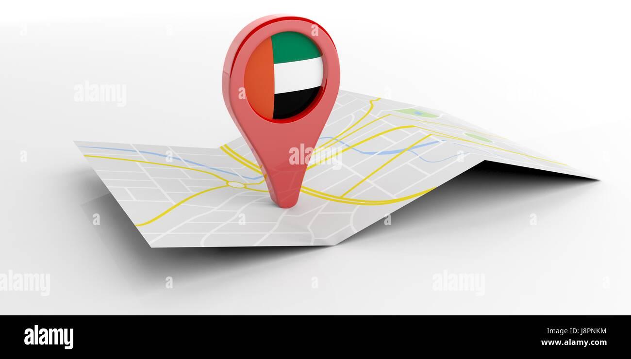 United Arab Emirates map pointer isolated on white background. 3d illustration - Stock Image
