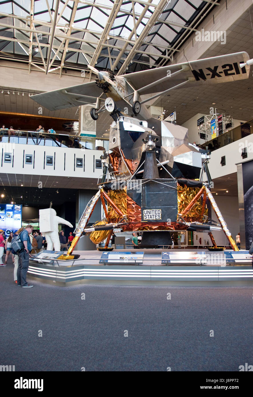 A lunar module, that landed men on the moon in the Apollo program, with the Spirit of St. Louis above, at the Nat. - Stock Image