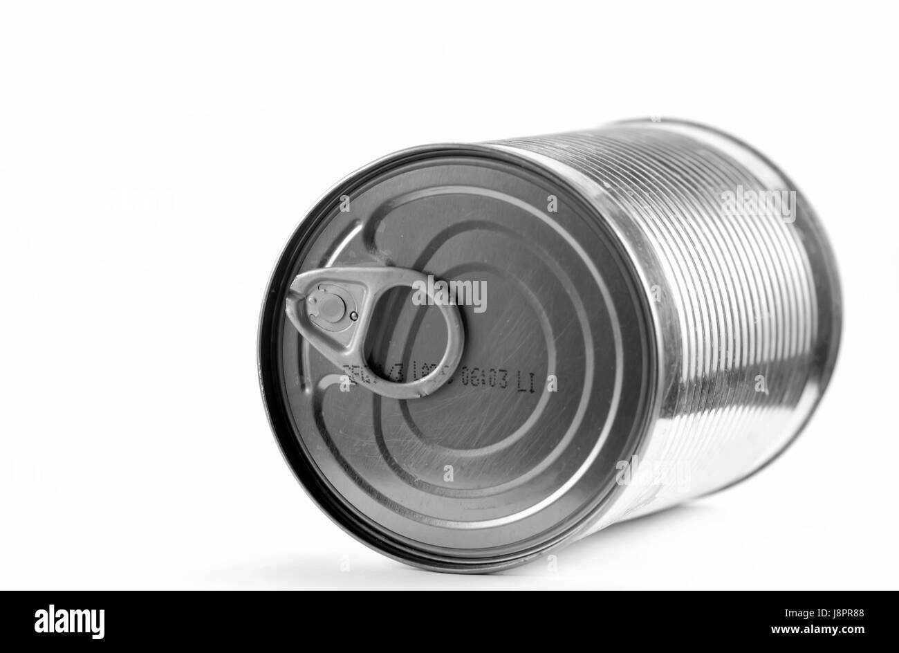 food, aliment, tin, container, aluminum, aluminium, pull, preserved, can, - Stock Image
