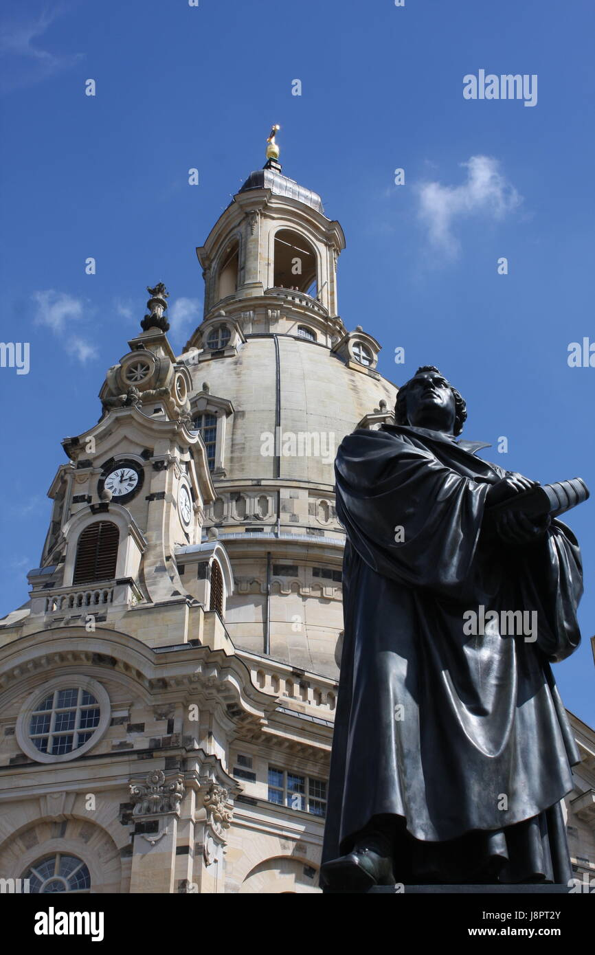 statue Martin Luther in the center of old town in Dresden, Germany Stock Photo