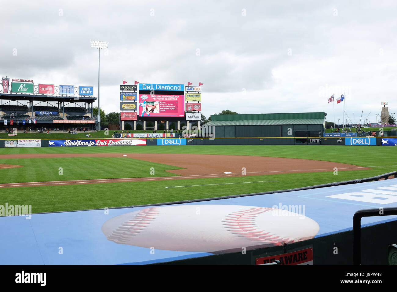 ROUND ROCK, TEXAS - MAY 22, 21017: Dell Diamond Stadium. The field is home to the minor league Round Rock Express - Stock Image