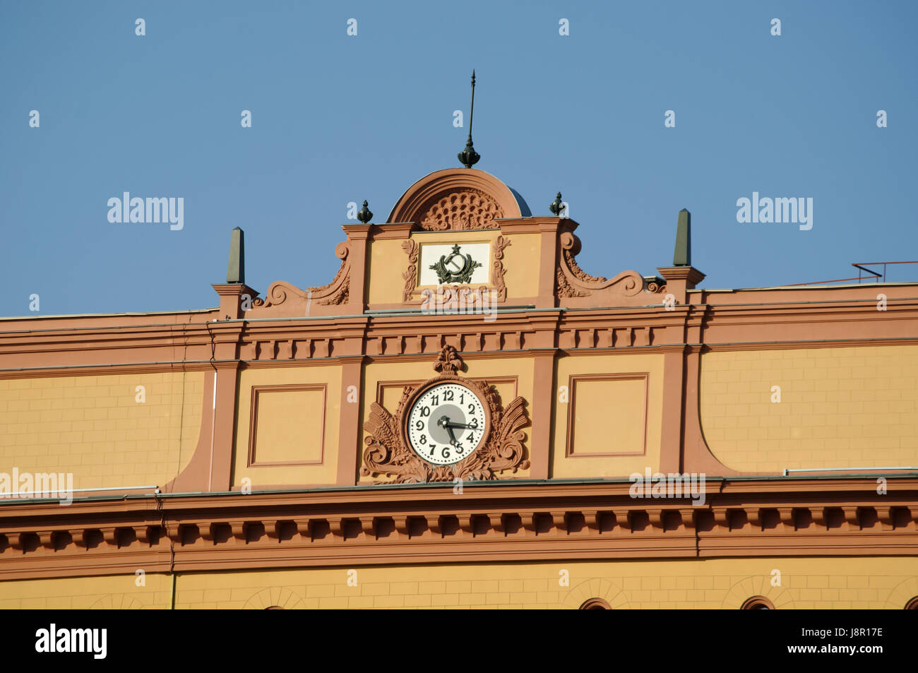 Moscow: details of the Lubyanka building, popular name for the headquarters of the Kgb and affiliated prison on - Stock Image