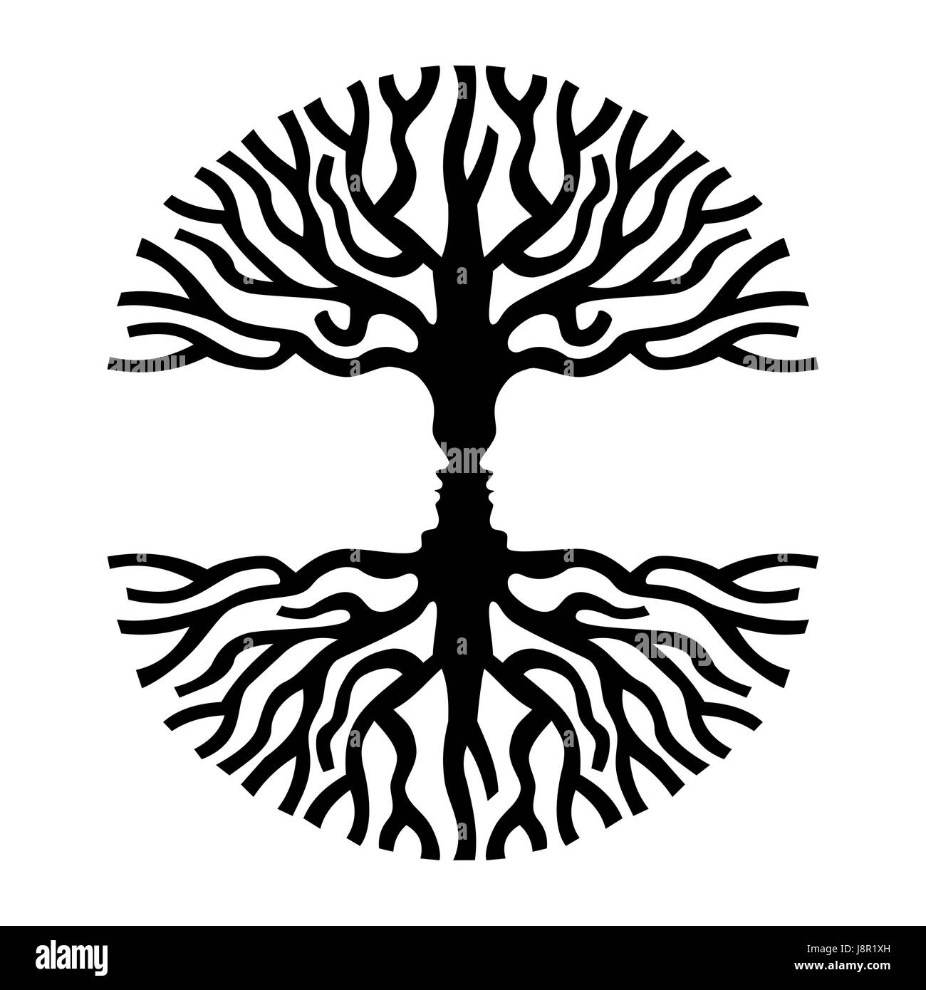 Tree branches shape with opposite human faces silhouette concept optic art symbol for psychology