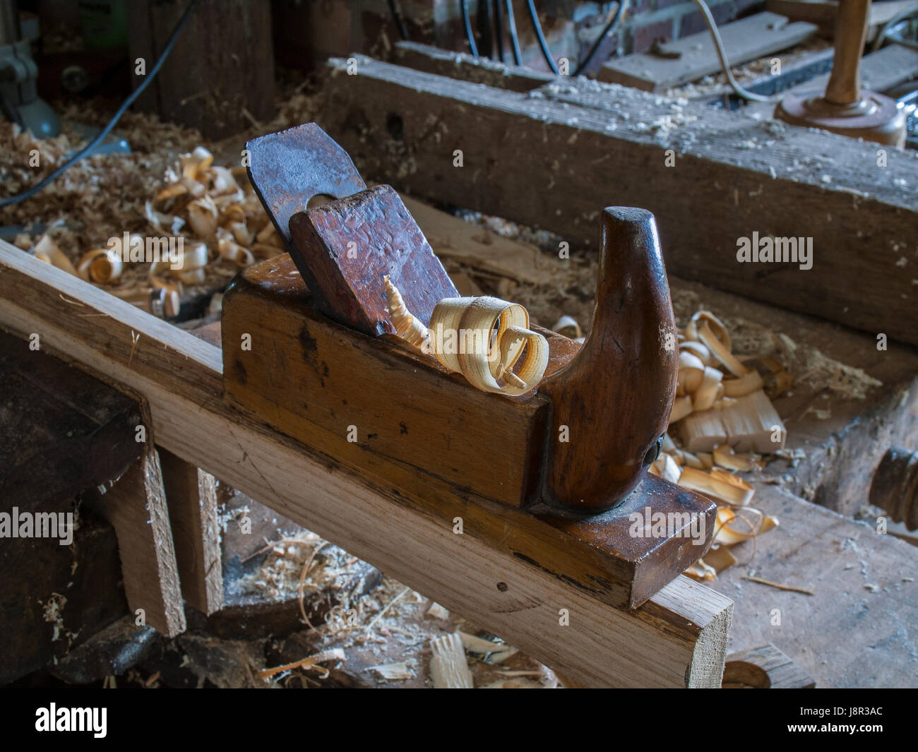 Carpenter's shop with a vice on a workpiese. - Stock Image