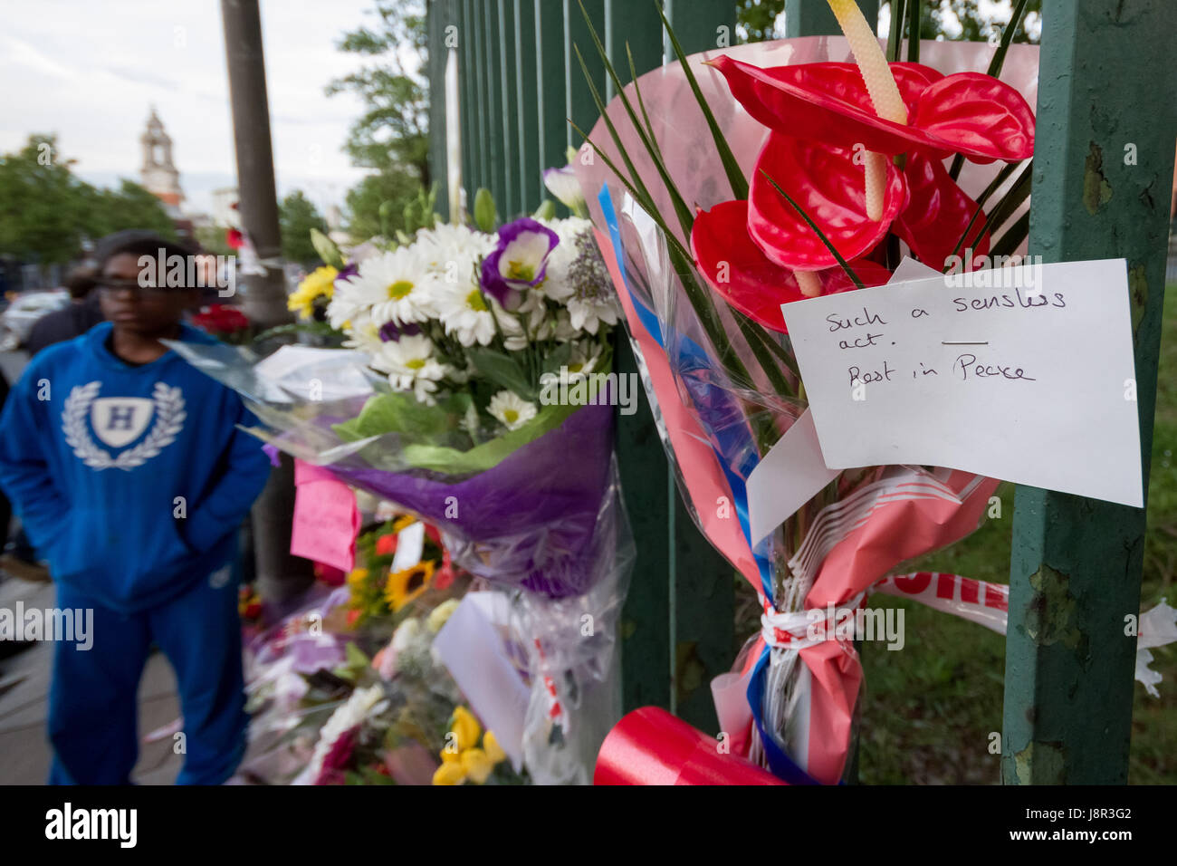Floral tributes for murdered Royal Fusilier solider Lee Rigby continue in Woolwich the day after the fatal terror - Stock Image