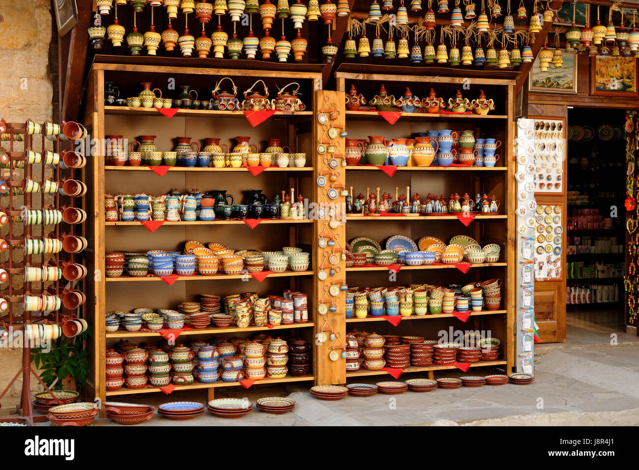 SOZOPOL, BULGARIA - AUGUST 15, 2011: Shop of traditional Bulgarian crockery in old town Sozopol. Sozopol is one - Stock Image
