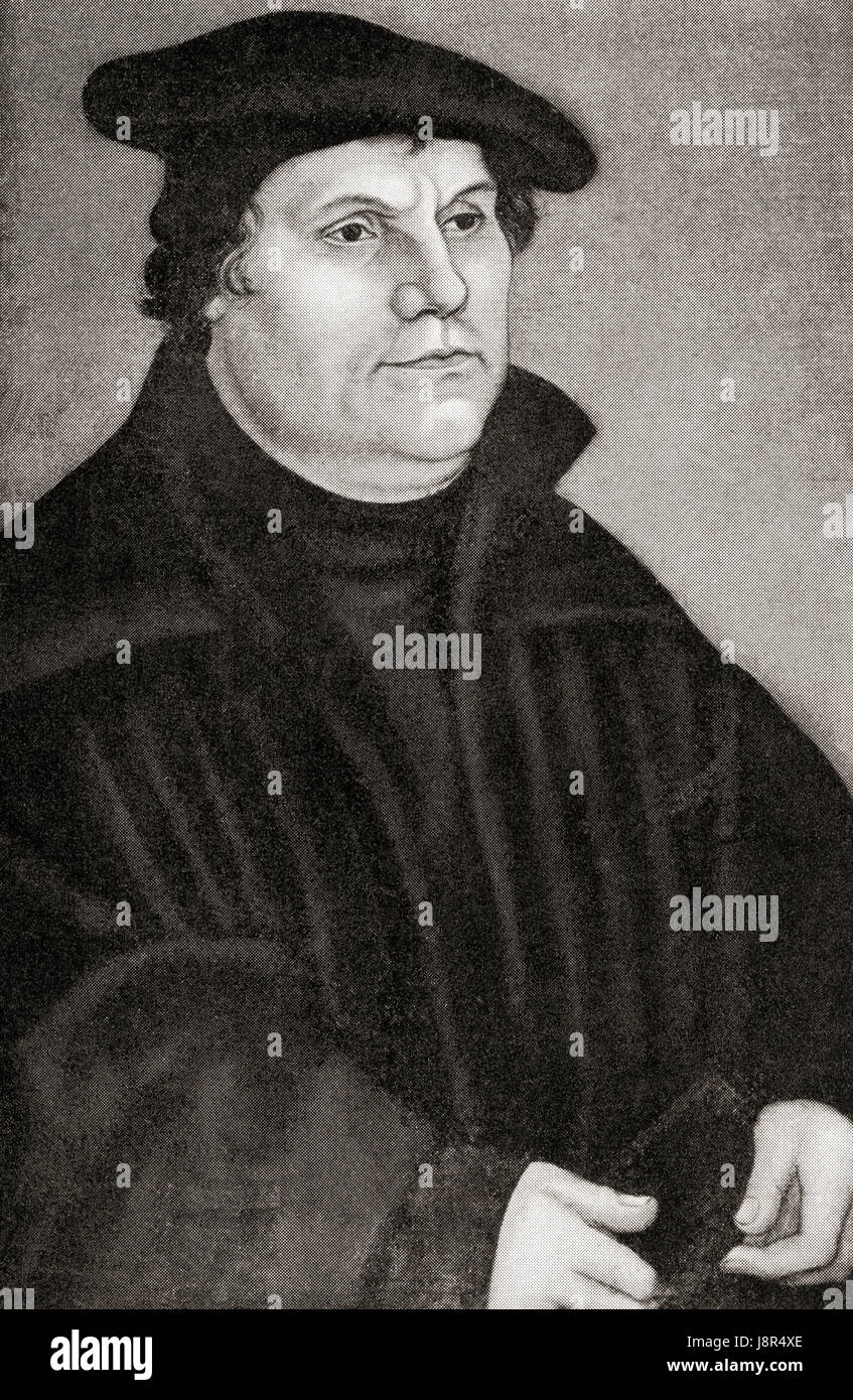 Martin Luther, 1483 – 1546. German professor of theology, composer, priest, monk and a seminal figure in the Protestant - Stock Image