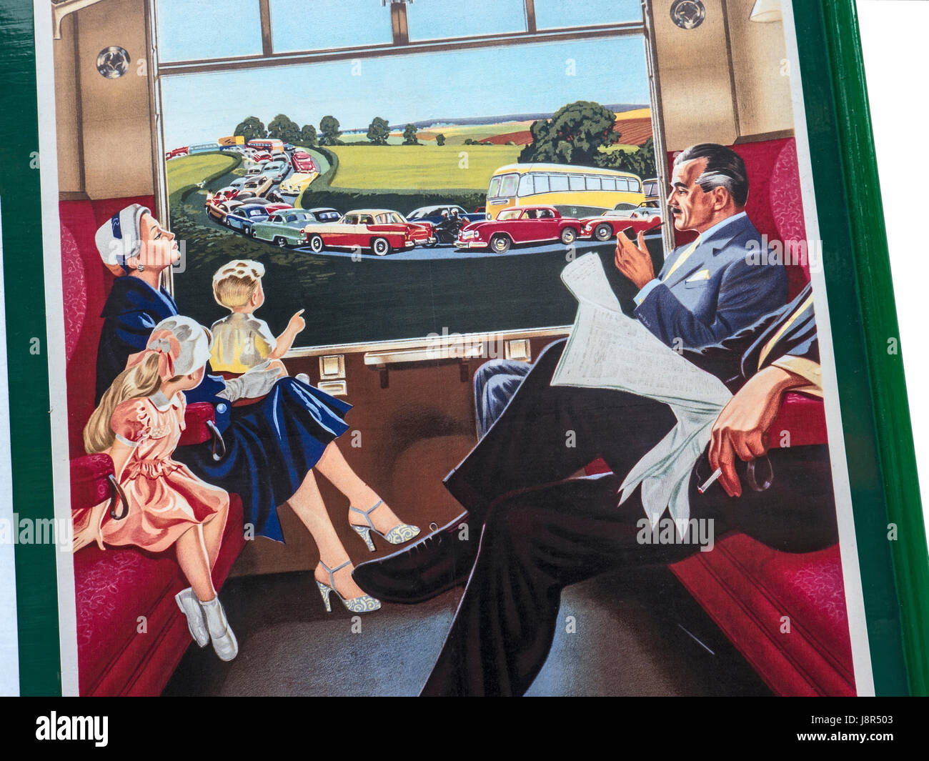 Detail close up on Vintage retro 1950's British Railways poster showing calm relaxed train passengers with traffic - Stock Image