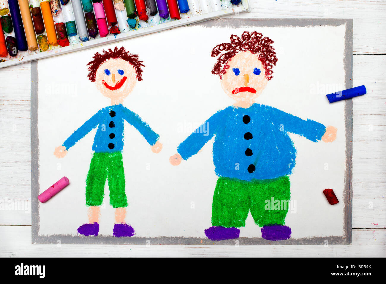 Colorful drawing: Smiling slim boy and obese sad boy. Weight loss. Stock Photo