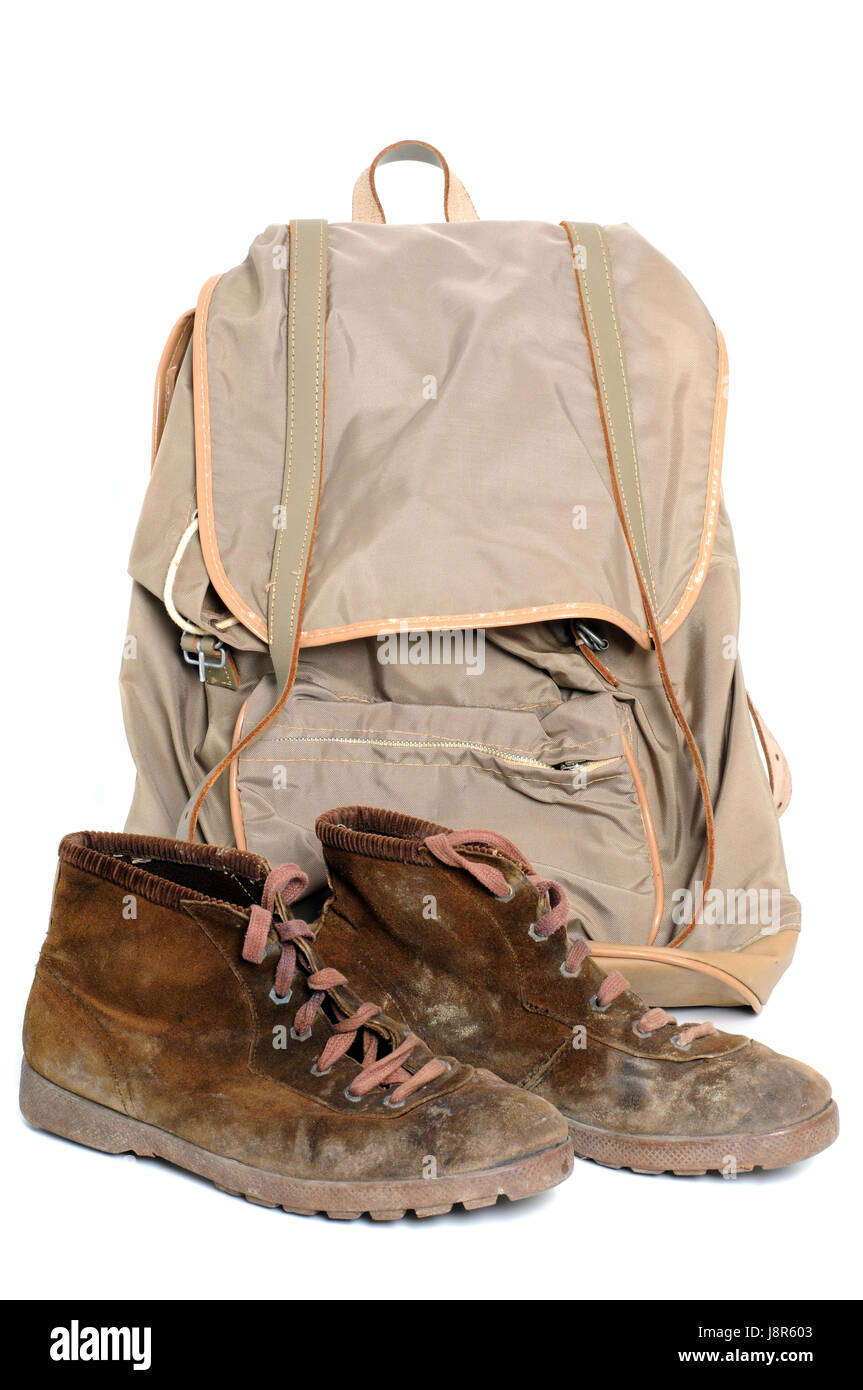 hike, go hiking, ramble, shoes, climbing boot, backpack, migrate, boot, macro, Stock Photo