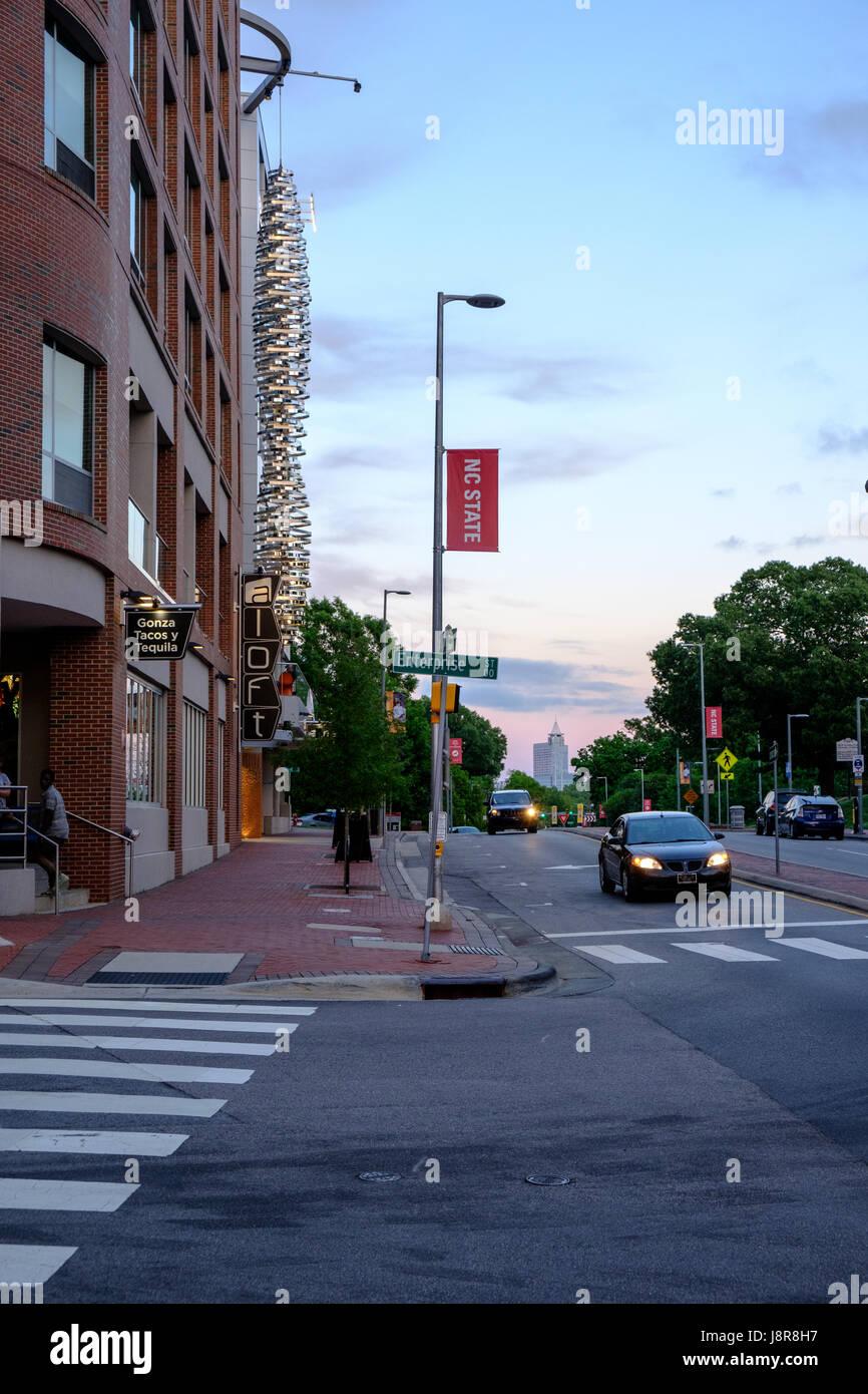 Aloft Hotel on Hillsborough Street at dusk on campus of North Carolina State University, Raleigh, USA Stock Photo