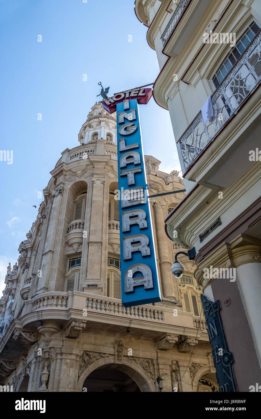 Inglaterra Hotel Sign - Havana, Cuba - Stock Image