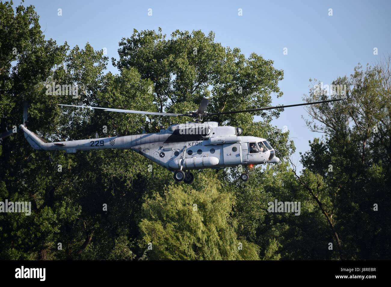 Day of Croatian military forces celebrated with demonstration of technic and soldiers skills. Helicopter, boats, Stock Photo