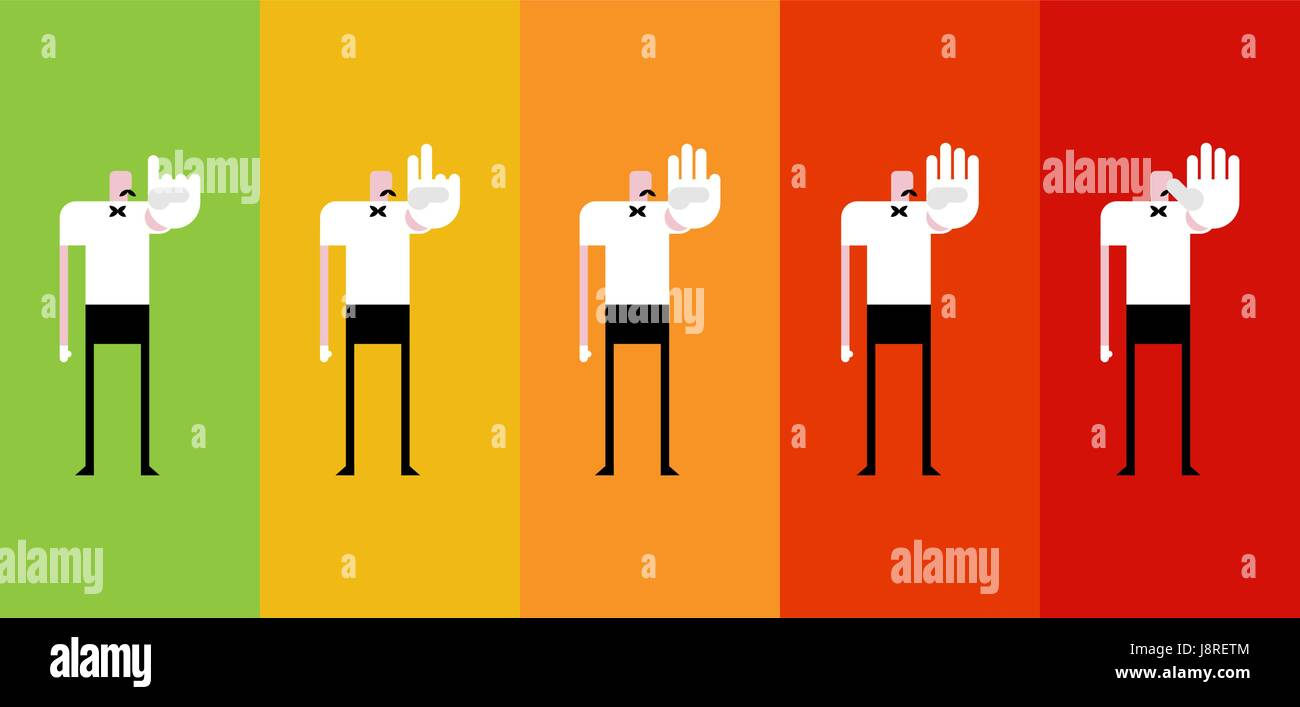 Sports Boxing referee countdown set counts. judge in ring - Stock Vector