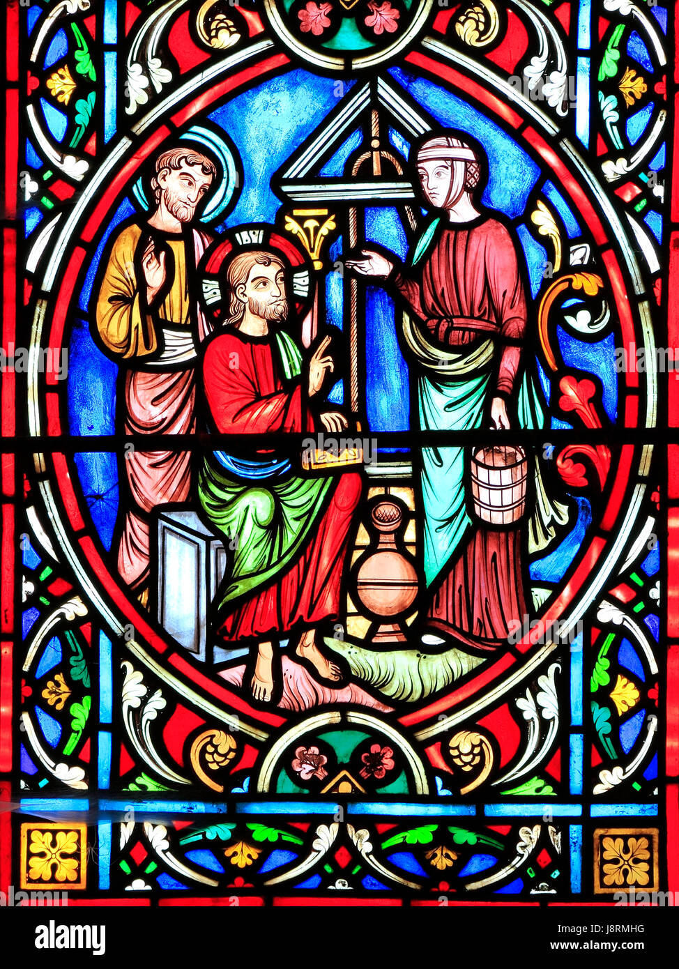 Scene from Life of Jesus, by Adolph Didron, Paris, 1860, stained glass window, Feltwell, Norfolk, England, Jesus - Stock Image