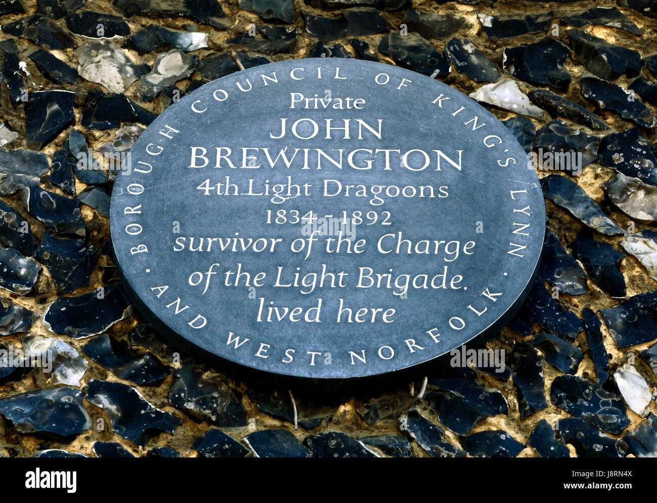 Charge of the Light Brigade, private John Brewington, 4th Light Dragoons Regiment, British soldier, memorial plaque, - Stock Image
