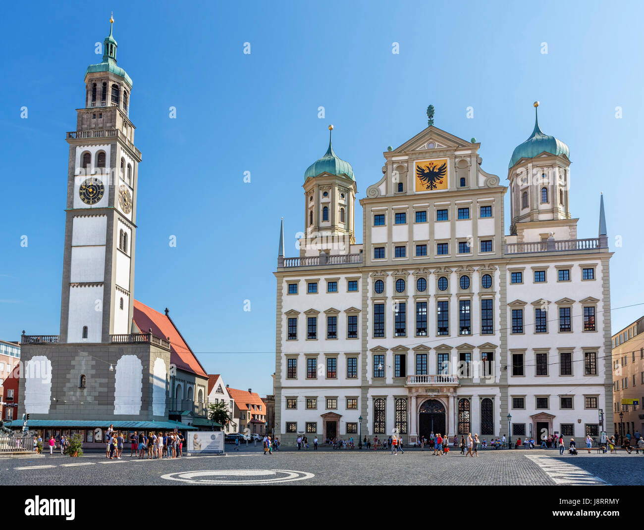 the town hall rathaus and perlach tower perlachturm stock photo 143123707 alamy. Black Bedroom Furniture Sets. Home Design Ideas
