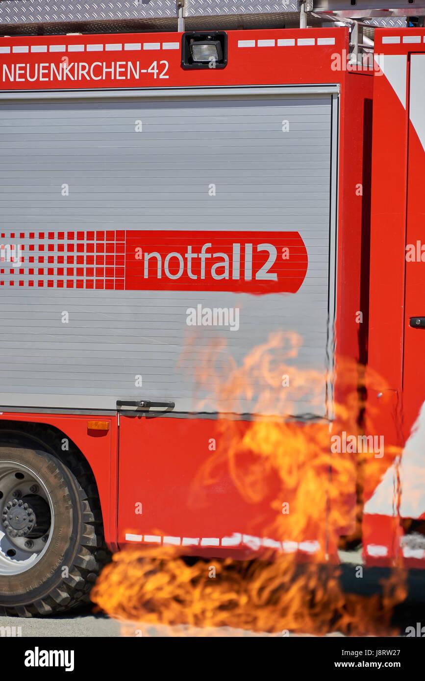 fire truck in danger - Stock Image