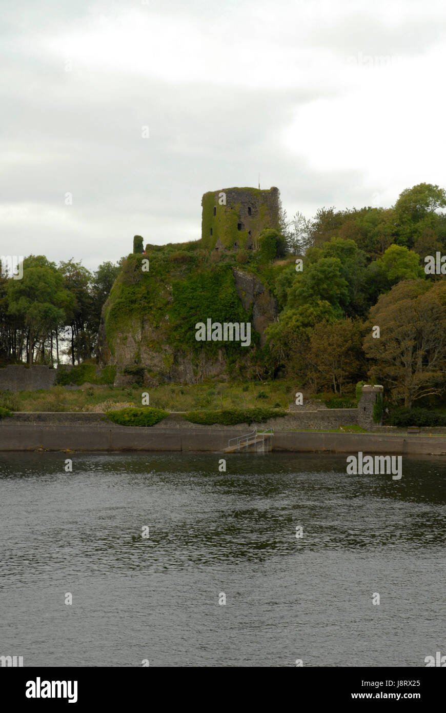 tower, waters, ruin, scotland, middle ages, tower, historical, tree, trees, Stock Photo