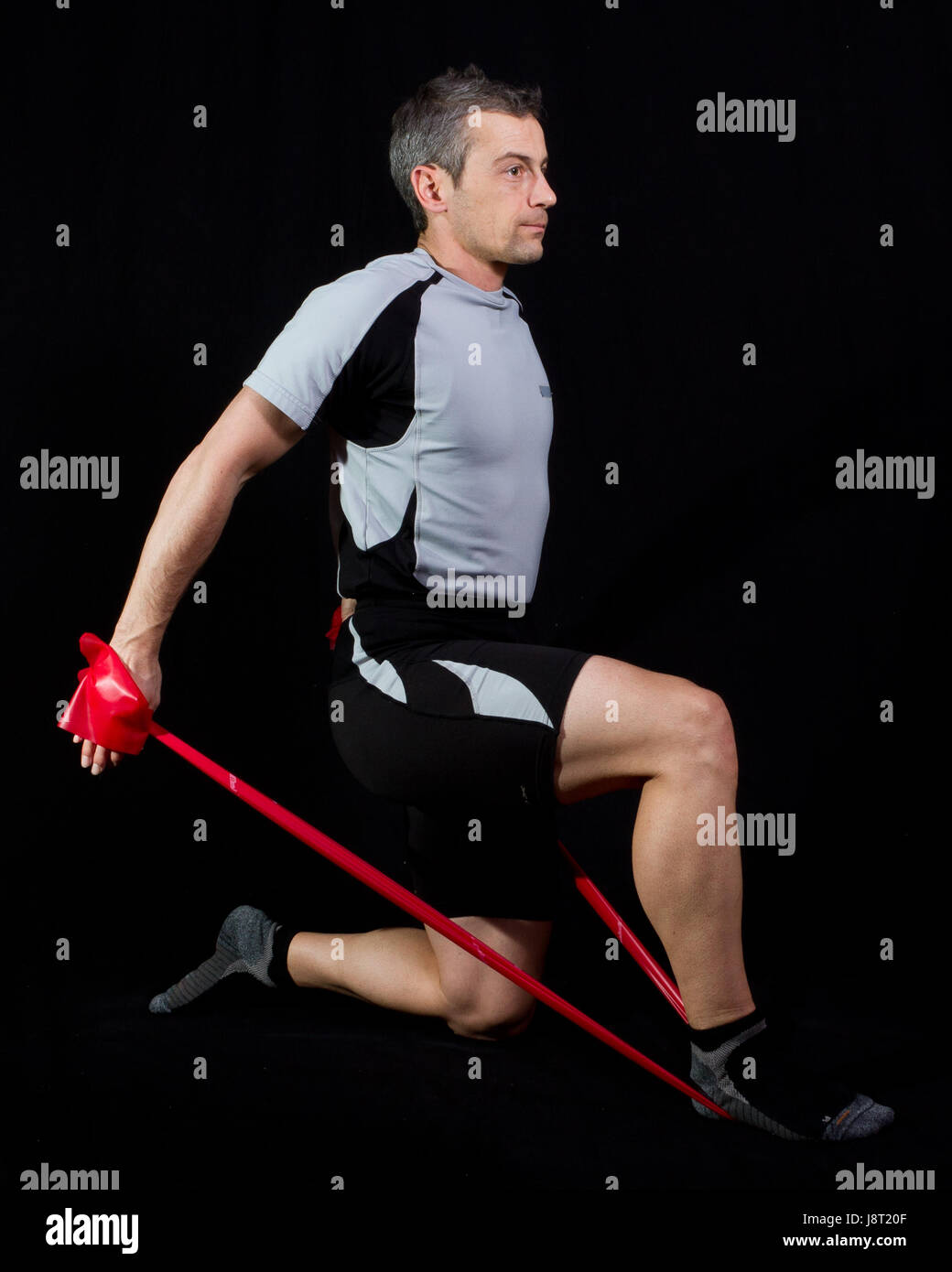 exercising with resistance band Stock Photo