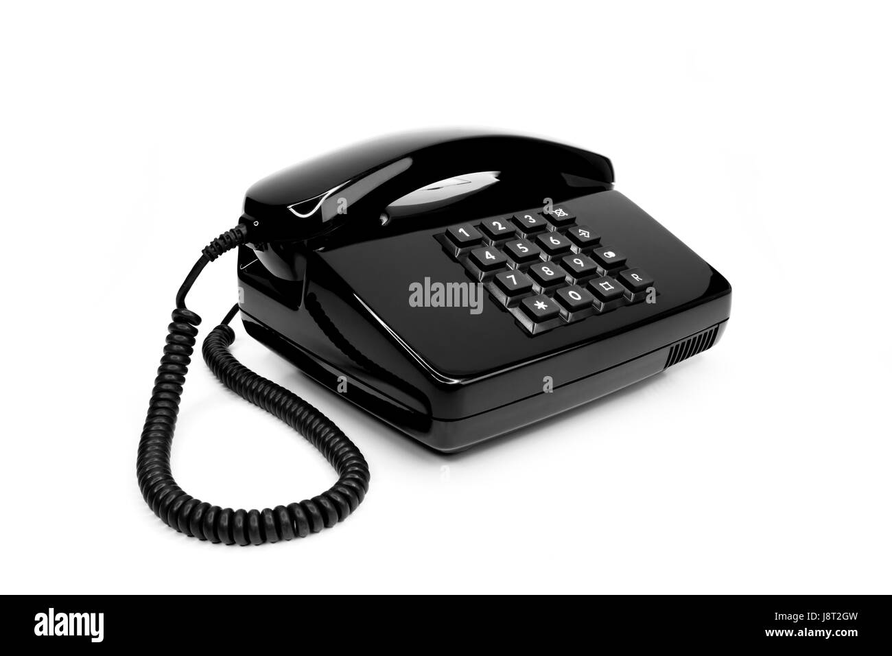 classic black telephone from the eighties Stock Photo