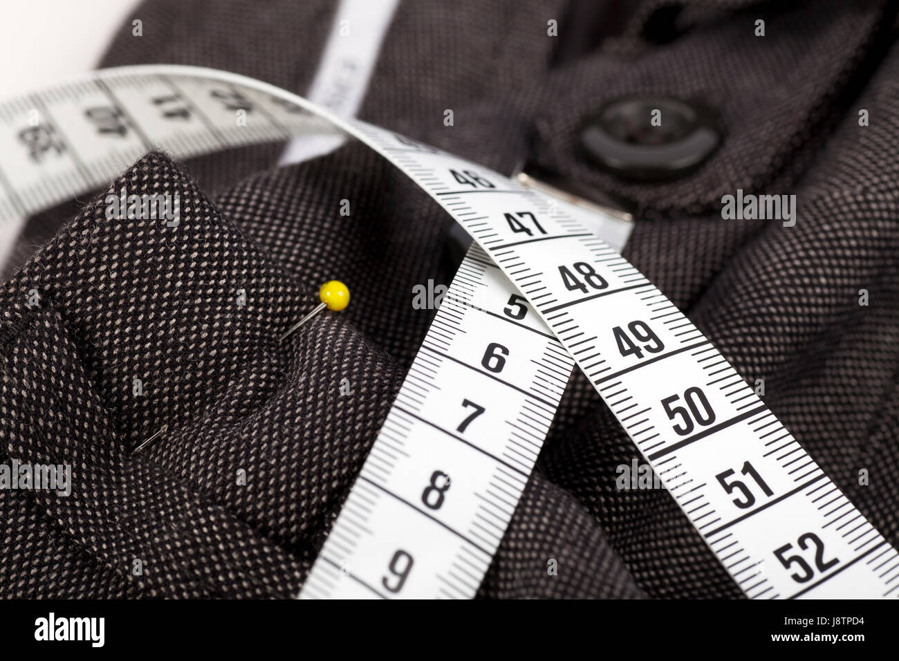centimeter, sewing, cloth, pin, pants, measured, sured, measure, textile, sew, - Stock Image