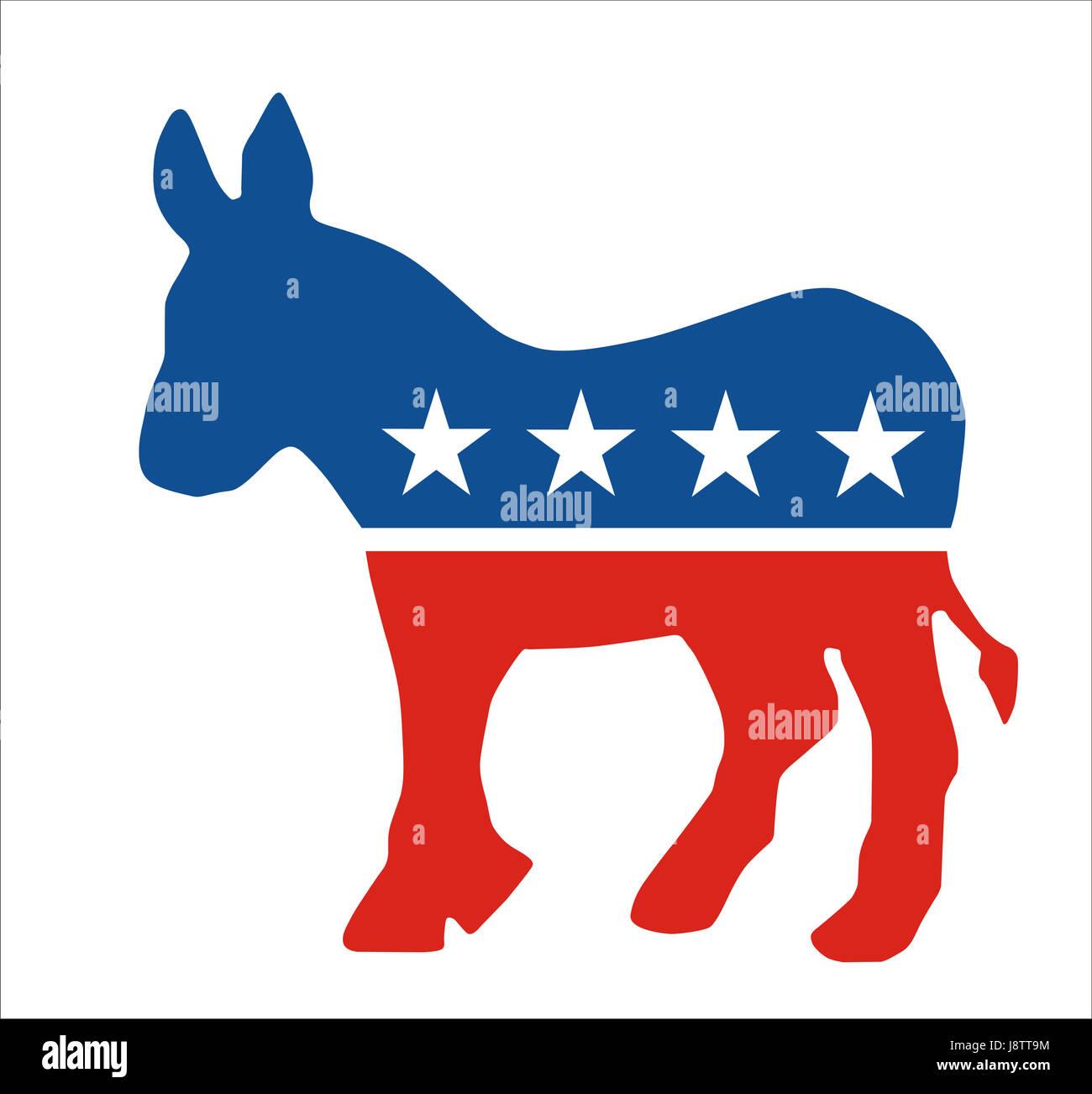 democratic, political, usa, america, flag, donkey, party, states, united, - Stock Image
