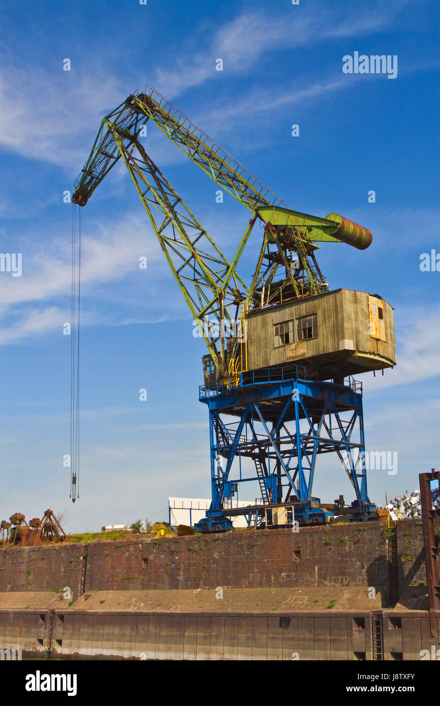 harbor, harbours, Duisburg, old, blue, industry, green, brown, brownish, Stock Photo