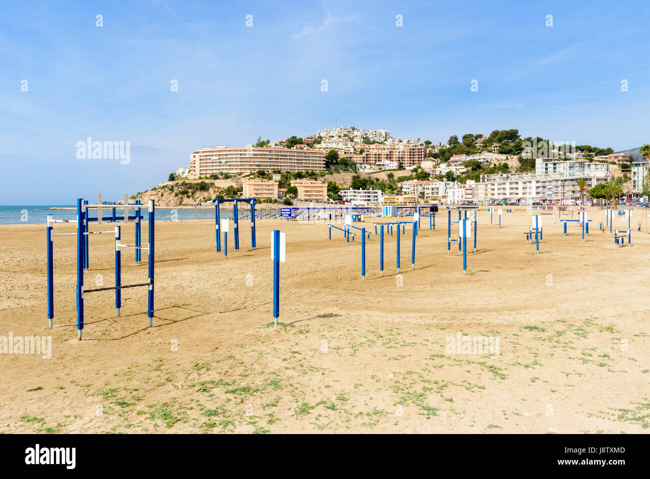 Exercise equipment on Playa Sur, the South Beach, Peniscola, Spain - Stock Image